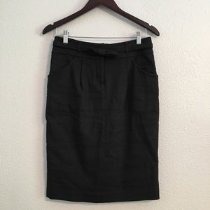 Rebecca Taylor Black Pencil Skirt Bow Belt Size 4